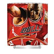 Michael Jordan Artwork 3 Shower Curtain by Sheraz A