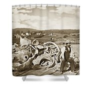 Michael Noon Sitting On A  Pile Of Whale Bones Monterey Wharf  Circa 1896 Shower Curtain