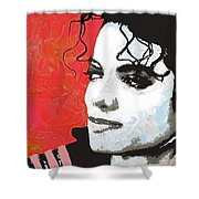 Michael Red And White Shower Curtain