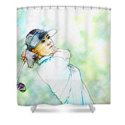Michelle Wie Hits Her Tee Shot On The Sixth Hole Shower Curtain