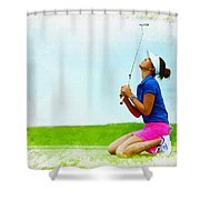 Michelle Wie Of The United States Reacts After Missed Off To A B Shower Curtain