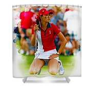 Michelle Wie Of The Usa Solhiem Cup Reacts After Missing A Putt Shower Curtain