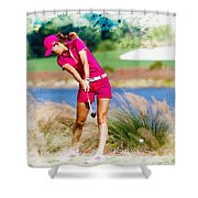 Michelle Wie Plays A Shot On The 6th Hole Shower Curtain