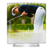 Michelle Wie  Putt On The Tenth Green Shower Curtain