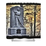 Michigan At Gettysburg - 5th Michigan Infantry Sunrise And Morning Mist In The Rose Woods Shower Curtain