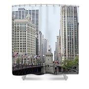 Michigan Ave Dusable Bridge Shower Curtain