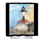 Michigan City Lighthouse In Nautical Chart Map Art Cathy Peek Shower Curtain