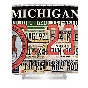Michigan License Plate Shower Curtain
