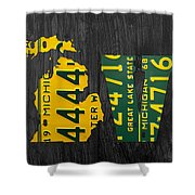 Michigan Love Recycled Vintage License Plate Art State Shape Lettering Phrase Shower Curtain by Design Turnpike