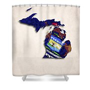 Michigan Map Art With Flag Design Shower Curtain