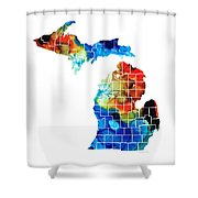 Michigan State Map - Counties By Sharon Cummings Shower Curtain