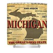 Michigan State Pride Map Silhouette  Shower Curtain
