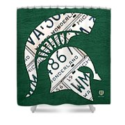 Michigan State Spartans Sports Retro Logo License Plate Fan Art Shower Curtain
