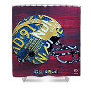 Michigan Wolverines College Football Helmet Vintage License Plate Art Shower Curtain