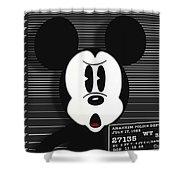 Mickey Mouse Disney Mug Shot Shower Curtain by Tony Rubino