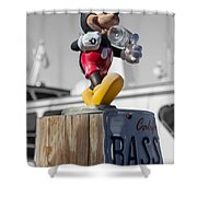 Mickey On A Post Shower Curtain