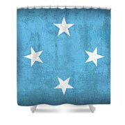 Micronesia Flag Vintage Distressed Finish Shower Curtain