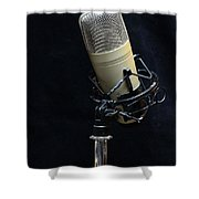 Microphone On Black Shower Curtain