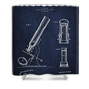 Microscope Patent Drawing From 1865 - Navy Blue Shower Curtain