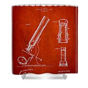 Microscope Patent Drawing From 1865 - Red Shower Curtain