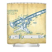 Microscope Patent Drawing From 1915 - Vintage Paper Shower Curtain