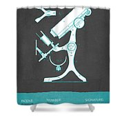 Microscope Patent From 1886  - Gray Turquoise Shower Curtain