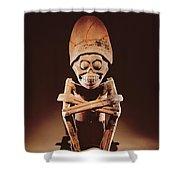 Mictlantecuhtli Lord Of Mictlan Remojadas Style, From Los Cerros, Tierra Blanca, Vera Cruz Pottery Shower Curtain