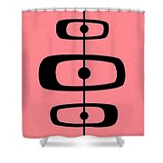 Mid Century Shapes 2 On Pink Shower Curtain