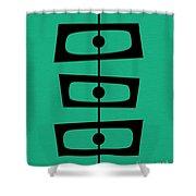 Mid Century Shapes On Aqua Shower Curtain