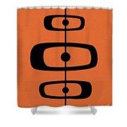 Mid Century Shapes 2 On Orange Shower Curtain