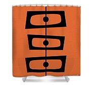 Mid Century Shapes On Orange Shower Curtain
