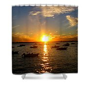 Mid Summer Sunset Over The Island Shower Curtain
