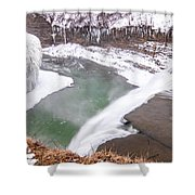 Middle Falls And Ice Feathers Shower Curtain