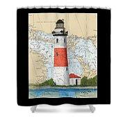 Middle Island Lighthouse Mi Cathy Peek Nautical Chart Art Shower Curtain