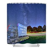 Midnight At Mount Mitchell Entrance Sign Shower Curtain