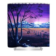 Midnight At The Border Shower Curtain