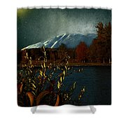 Midnight Blue In The Mountains Shower Curtain