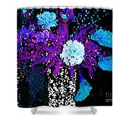 Midnight Callas And Orchids Abstract Shower Curtain