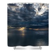 Midnight Clouds Over The Water Shower Curtain