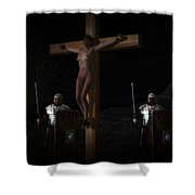 Midnight Crucifixion Shower Curtain