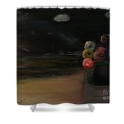 Midnight Flowers On The Beach Shower Curtain