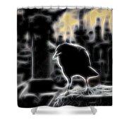 Midnight Glow Crow Shower Curtain