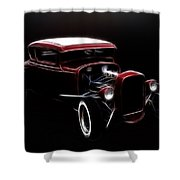 Midnight Hot Rod Red Shower Curtain