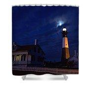 Midnight Moon Over Tybee Island Shower Curtain