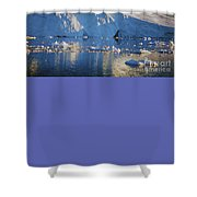 midnight sun with moon in Greenland Shower Curtain