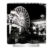 Midway Attractions In Black And White Shower Curtain
