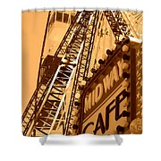 Midway Cafe Sepia Shower Curtain