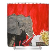 Mika And Elephant Shower Curtain
