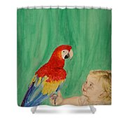 Mika And Parrot Shower Curtain