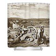Mike Noon Monterey Whaler On Montereys Wharf  Circa 1890 Shower Curtain